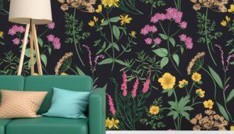 mural flores negras primaveral